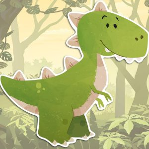 Dinosaurs αφρώδη αυτοκόλλητα 3 επιπέδων Medium