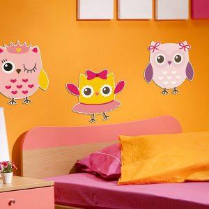 Owls - Κουκουβάγιες αφρώδη αυτοκόλλητα 3 επιπέδων