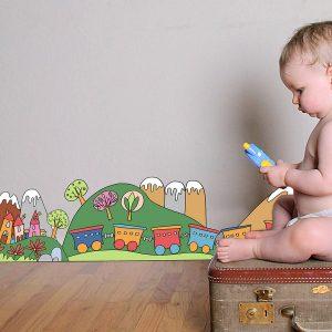Little Train μπορντούρα τοίχου αυτοκόλλητη