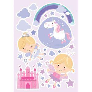 Happy Fairies διακοσμητικά αυτοκόλλητα τοίχου Large