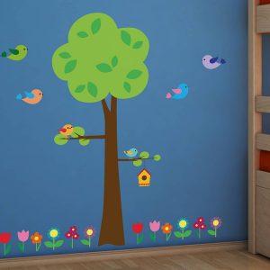 Tree With Flowers διακοσμητικά αυτοκόλλητα τοίχου XL
