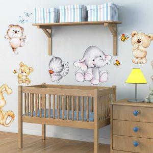 Cute Animals διακοσμητικά αυτοκόλλητα τοίχου XL