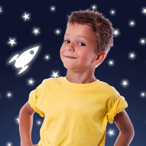 Rocket & Stars φωσφορίζοντα αυτοκόλλητα τοίχου Small