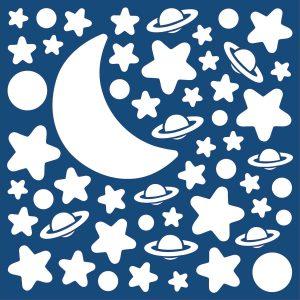 White Stars φωσφορίζοντα αυτοκόλλητα τοίχου Medium