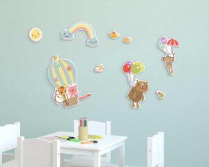 Happy Animals αφρώδη αυτοκόλλητα τοίχου L