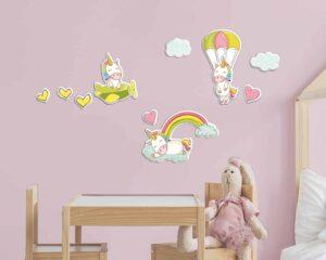 Fantasy Unicorns αφρώδη αυτοκόλλητα τοίχου L